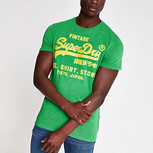 Superdry – Grünes T-Shirt mit Rundhalsausschnitt