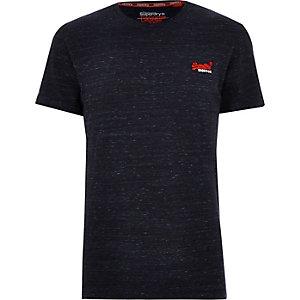 Superdry – Marineblaues T-Shirt mit Rundhalsausschnitt und Logo