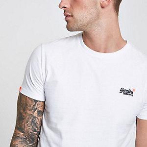Superdry – Weißes T-Shirt mit Rundhalsausschnitt und Logoprint