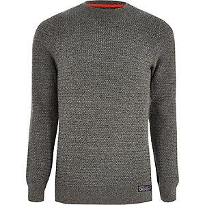 Superdry – Grauer, strukturierter Pullover