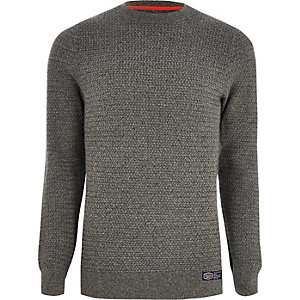 Superdry grey textured sweater