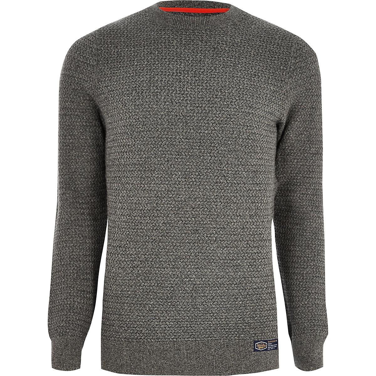 Superdry grey textured jumper