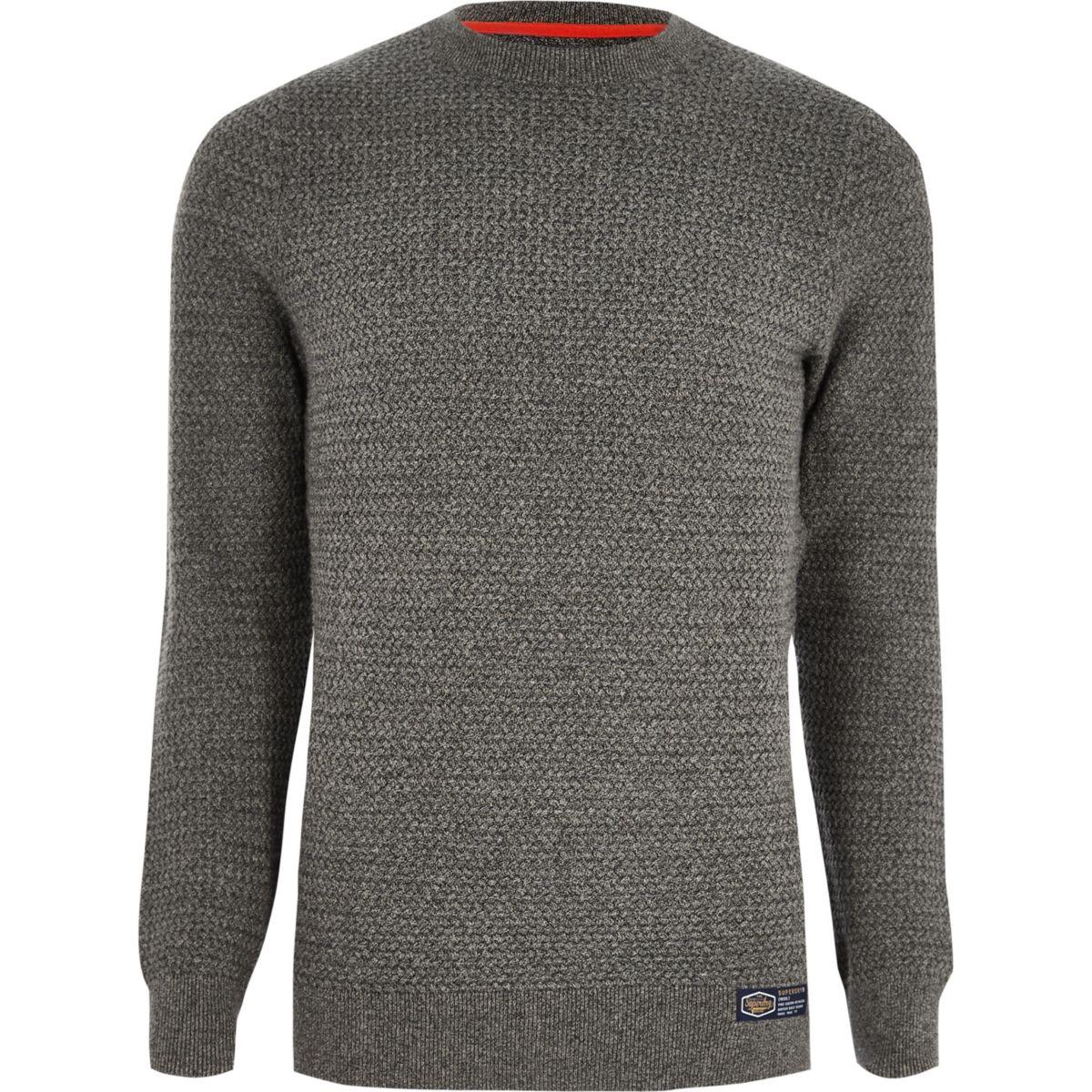 Superdry grey textured sweater