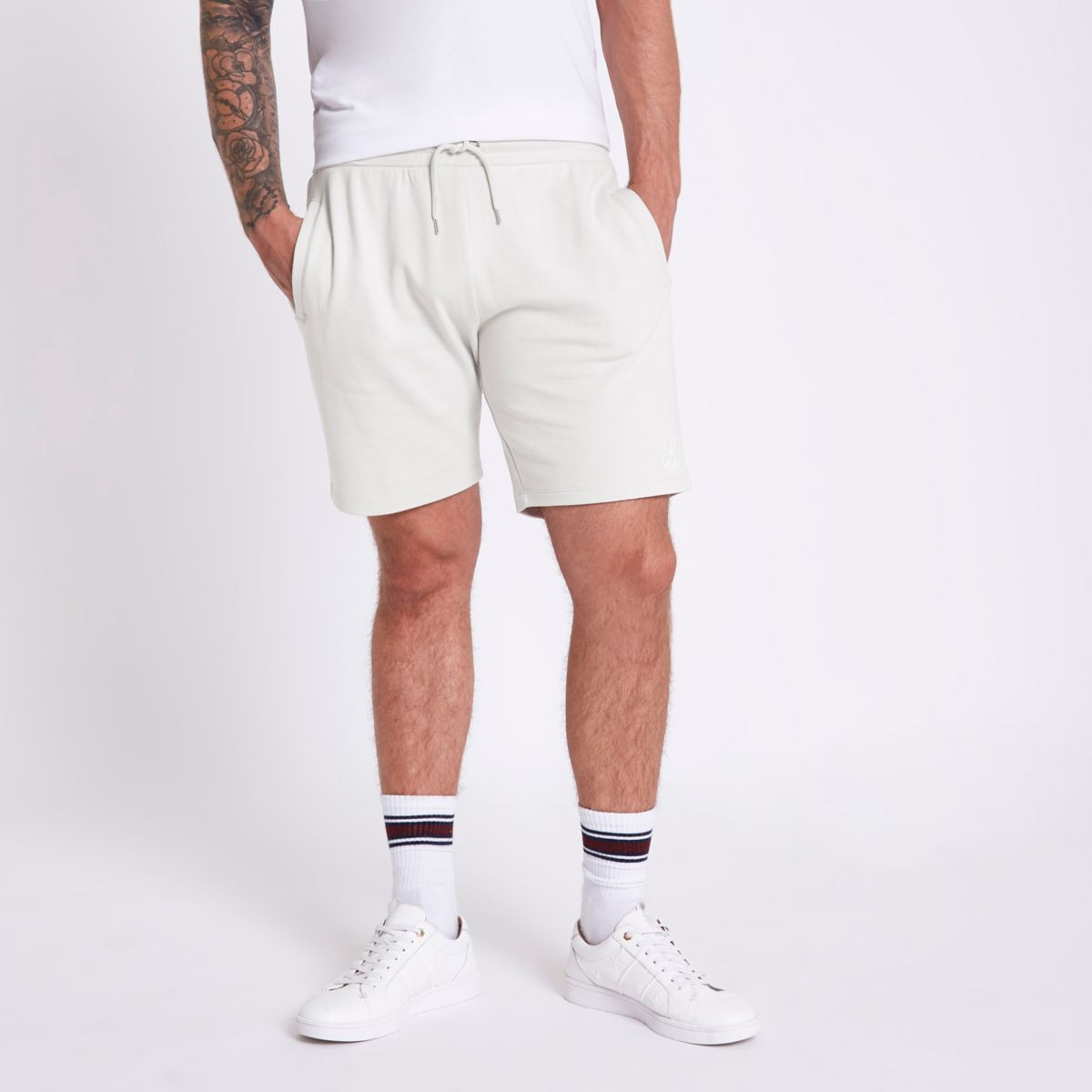 Light grey embroidered slim fit shorts