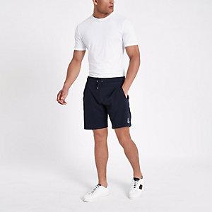 Marineblauwe slim-fit R96 short van jersey met borduursel