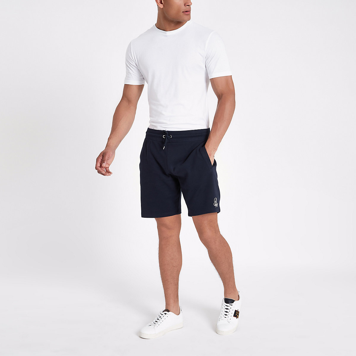 Navy embroidered slim fit  jersey shorts