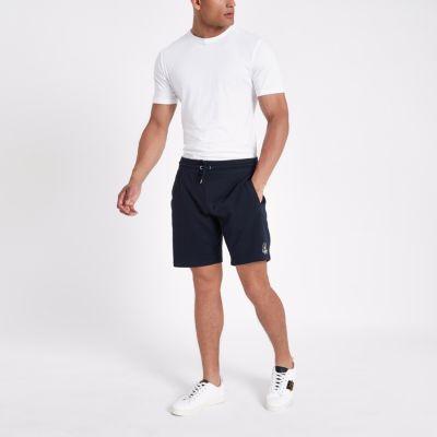 Marineblauwe Slim Fit Jersey Short Met Borduursel by River Island