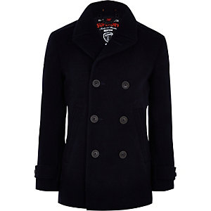 Superdry blue double-breasted peacoat