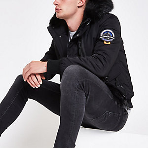 Superdry black faux fur hood bomber jacket