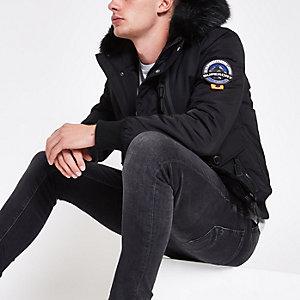Superdry black faux fur hood bomber jacket