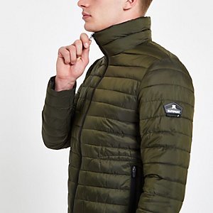 Superdry green double zip Fuji padded jacket