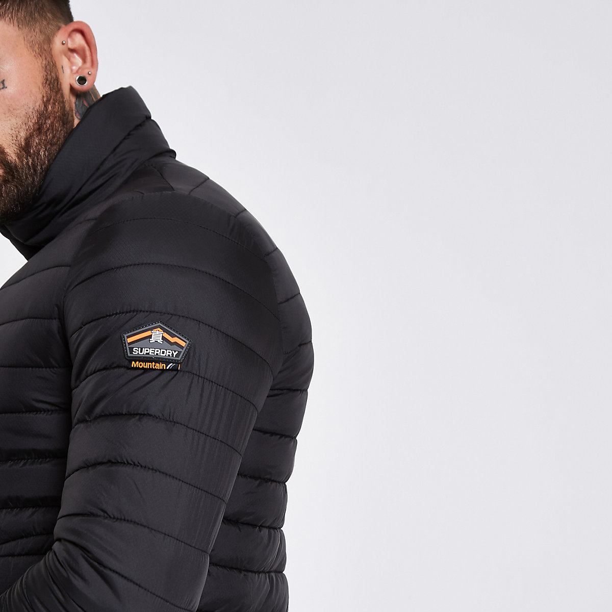 Superdry black double zip Fuji padded jacket