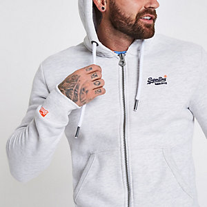 Superdry – Sweat à capuche gris clair zippé devant