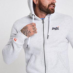 Superdry - Lichtgrijze hoodie met rits voor
