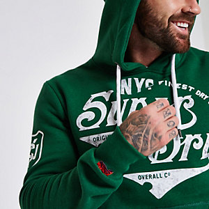 Superdry green vintage logo print hoodie