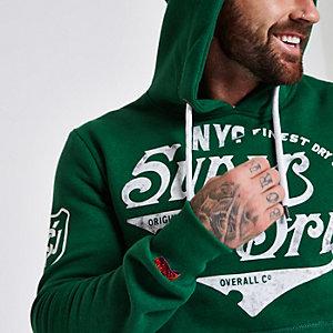 Superdry – Sweat à capuche à logo vintage vert