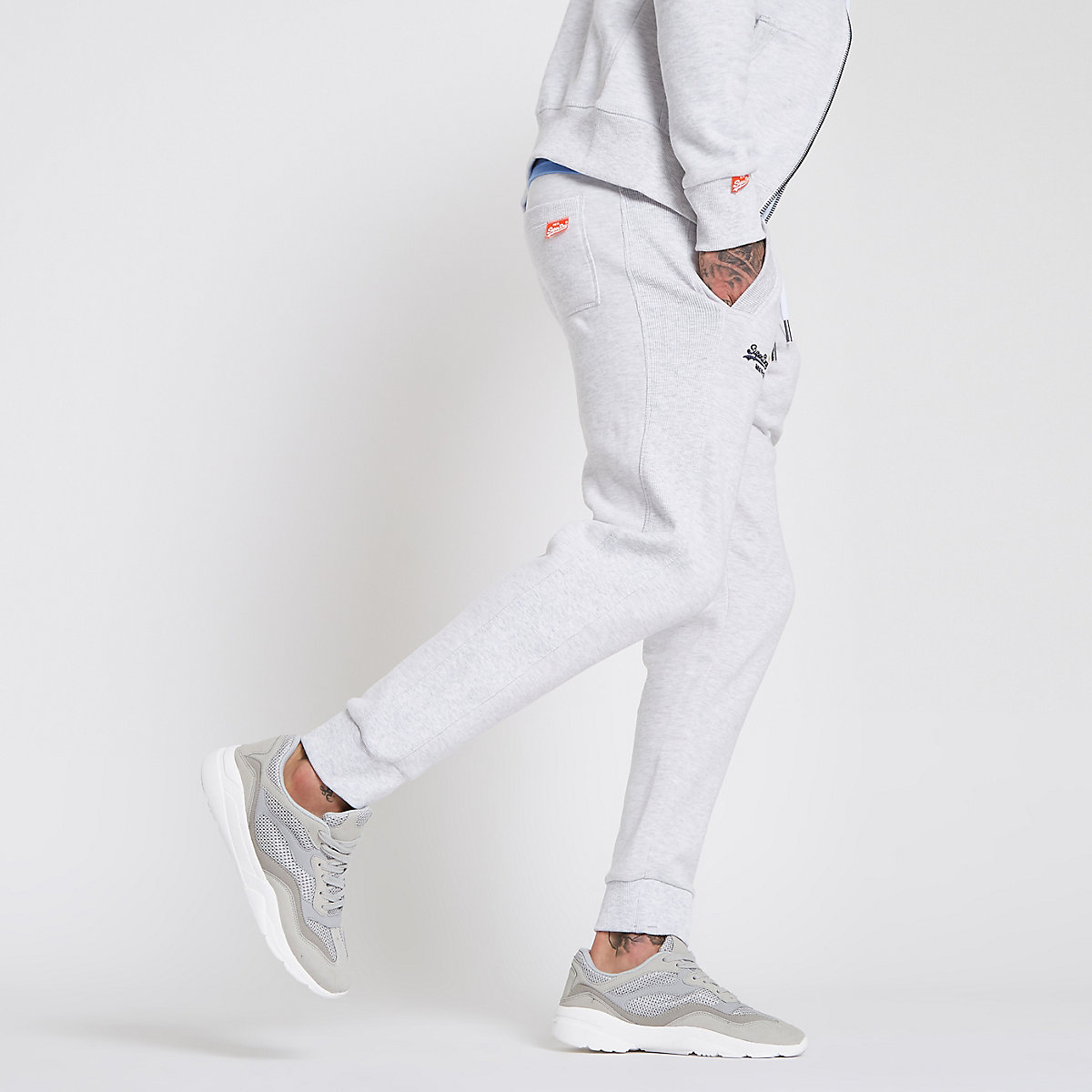 Superdry light grey tracksuit bottoms