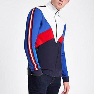 White block funnel neck slim fit track jacket