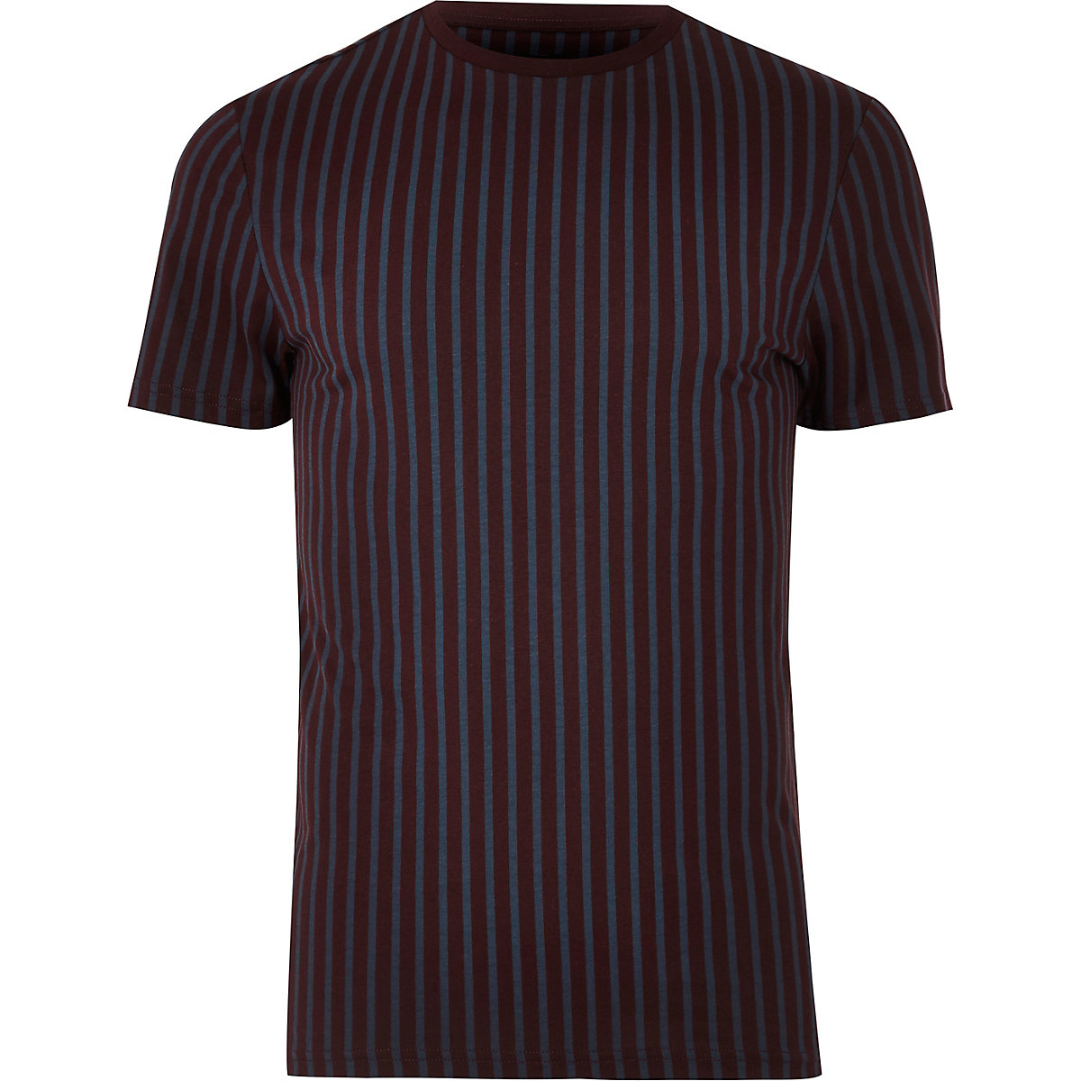 Dark red muscle fit vertical stripe T-shirt