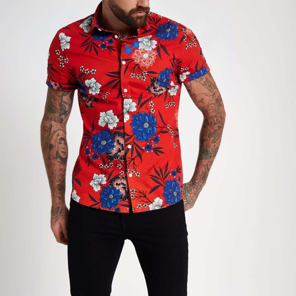 Red floral print short sleeve shirt