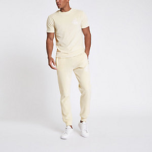 Ecru 'R96' slim fit velour T-shirt