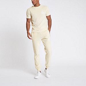 """Slim Fit T-Shirt """"R96"""" in Ecru"""