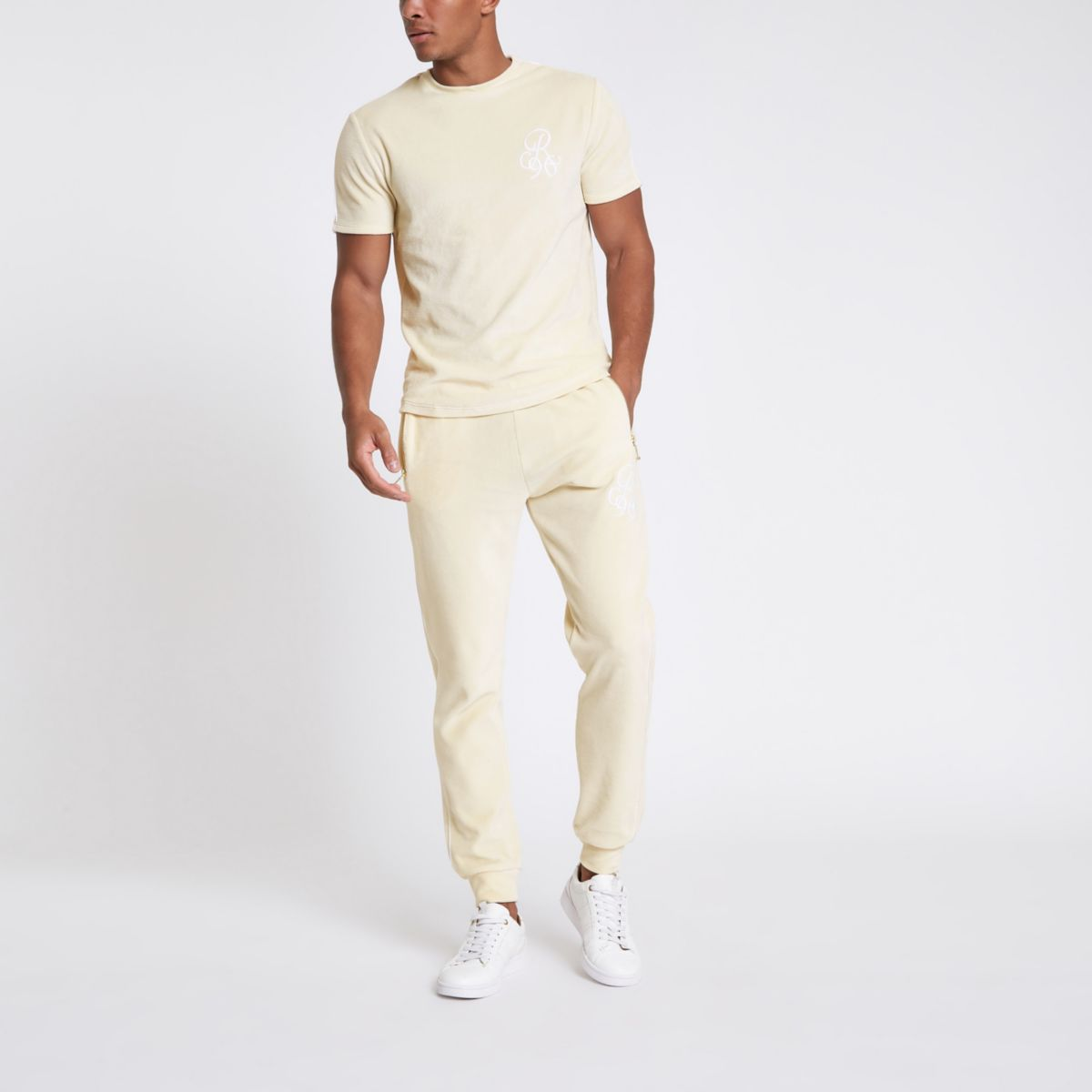 Ecru 'R96' slim fit velour T-shirt