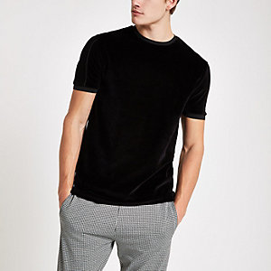 Zwart slim-fit velours T-shirt met ronde hals en bies
