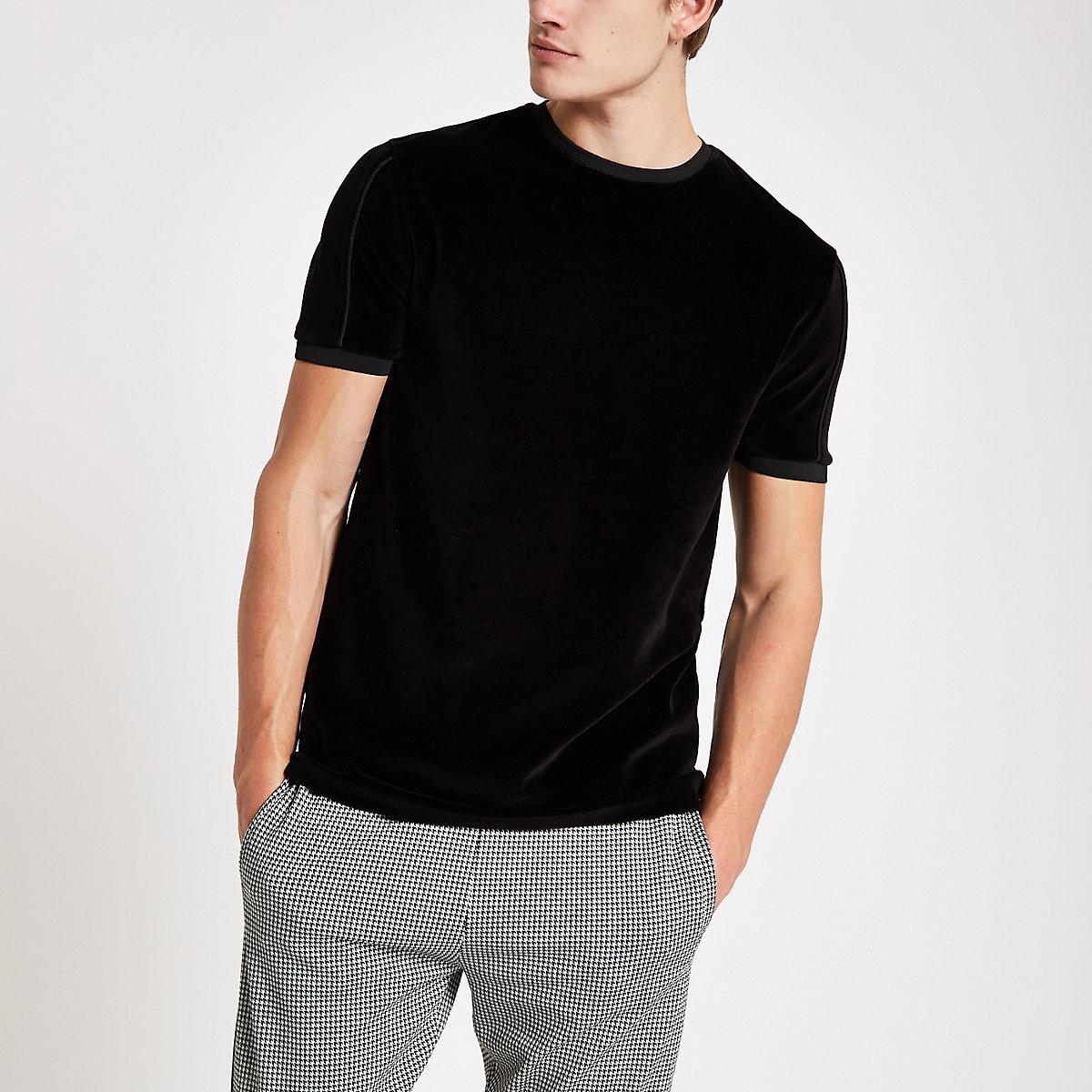 T-shirt slim en velours noir à col ras-du-cou passepoilé
