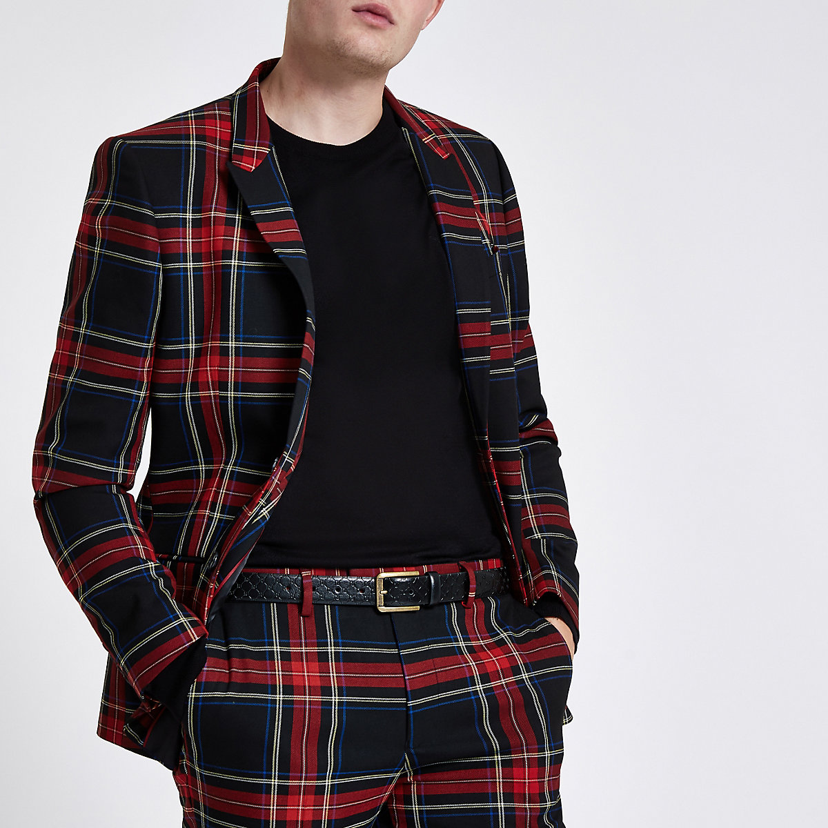 Red check skinny fit blazer