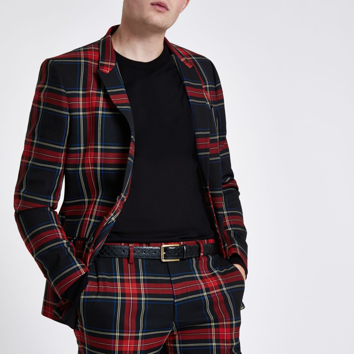 Red check skinny fit blazer