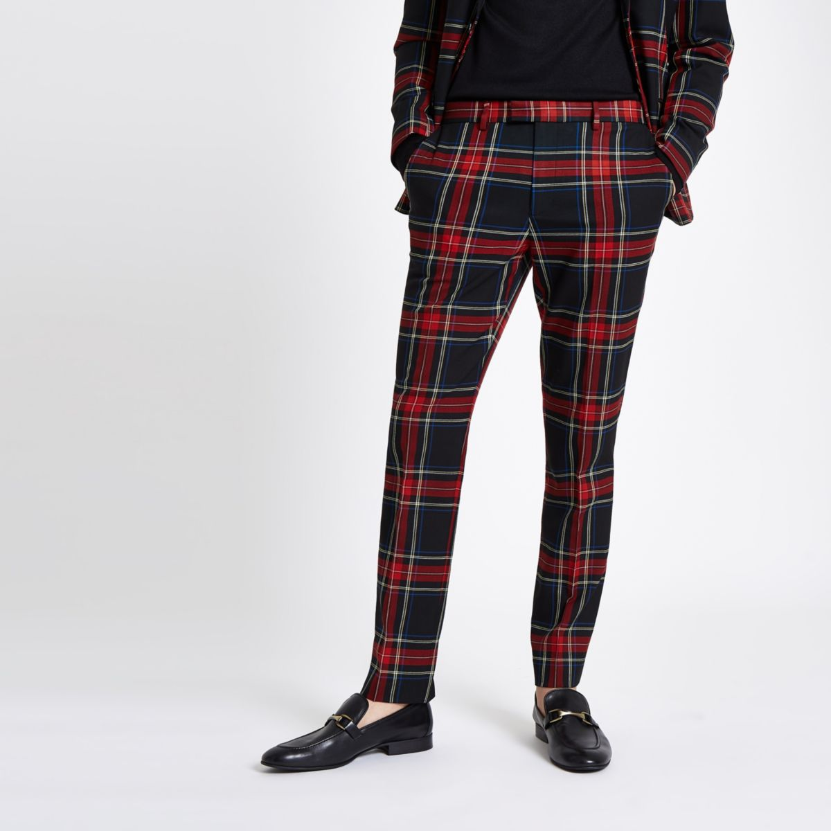 Black tartan check skinny fit suit trousers