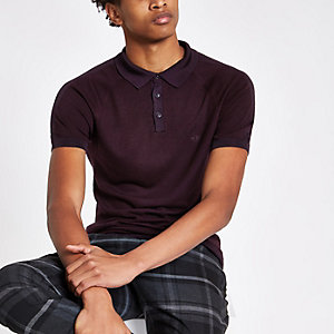 Burgundy slim fit wasp embroidered polo shirt