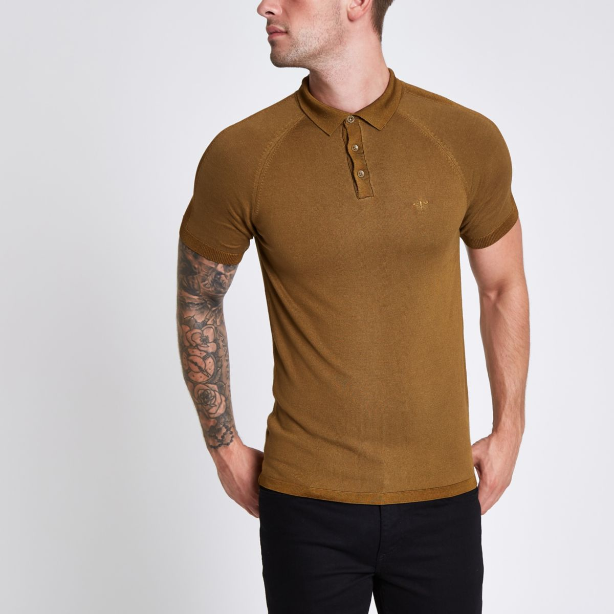 Dark green slim wasp embroidered polo shirt