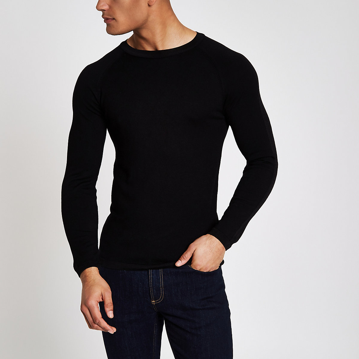 Black muscle fit crew neck sweater