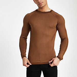 Brown muscle fit crew neck long sleeve top