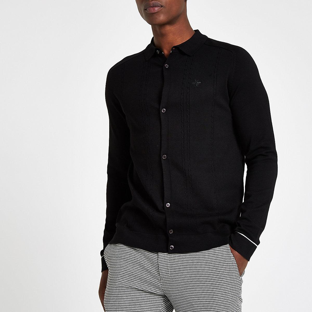 Chemise slim en maille côtelée noir à manches longues