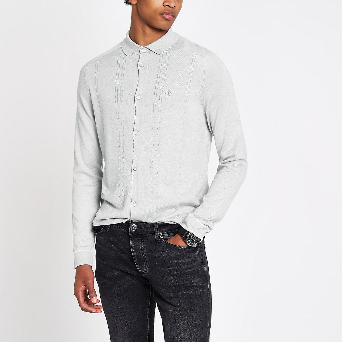 Light grey slim cable long sleeve shirt