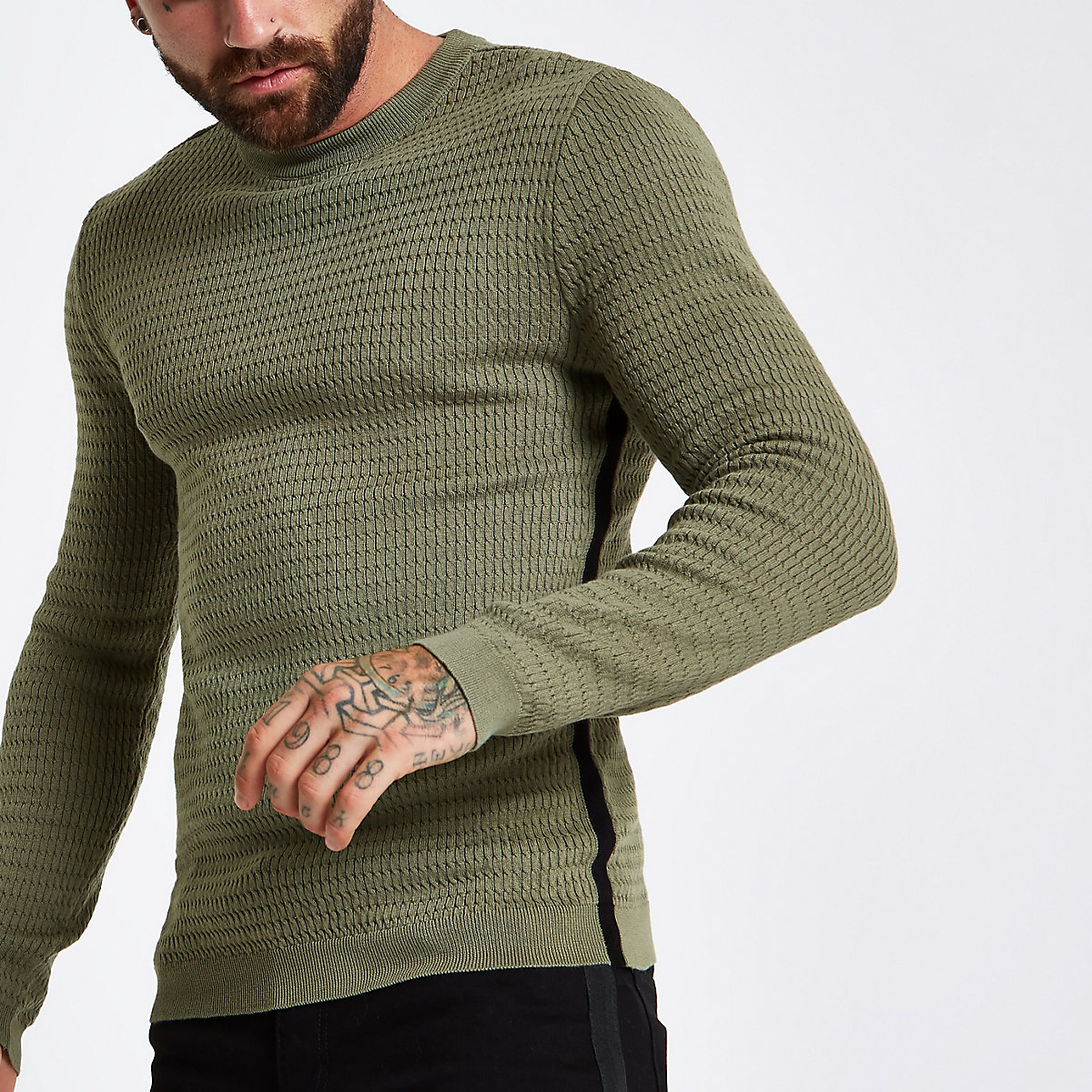 Dark green cable tape side muscle fit sweater