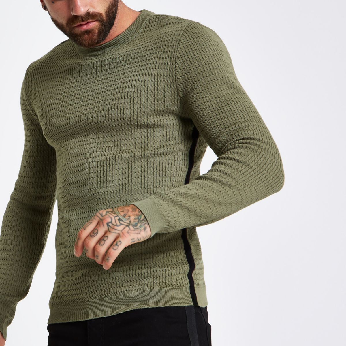Dark green cable long sleeve tape side sweater