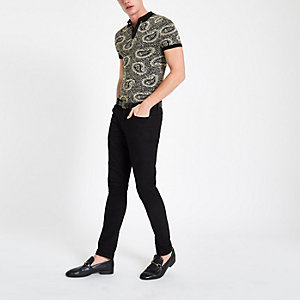 Black slim fit jacquard paisley polo shirt