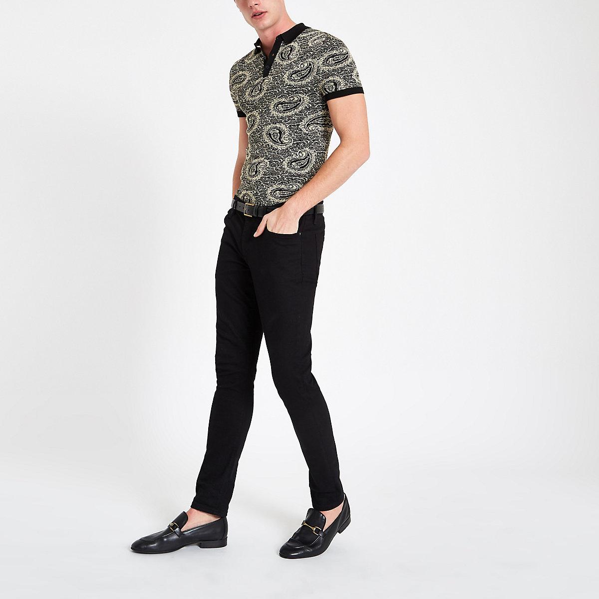 Schwarzes Slim Fit Polohemd mit Paisley-Muster