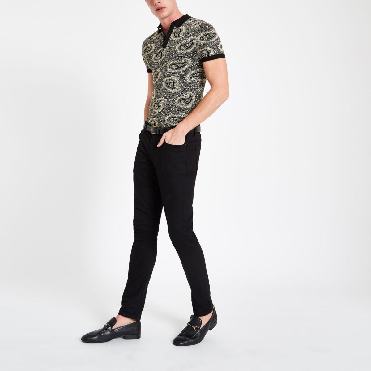 Black slim fit jacquard paisley polo shirt
