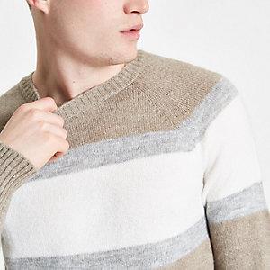 Ecru slim fit colour block crew neck jumper