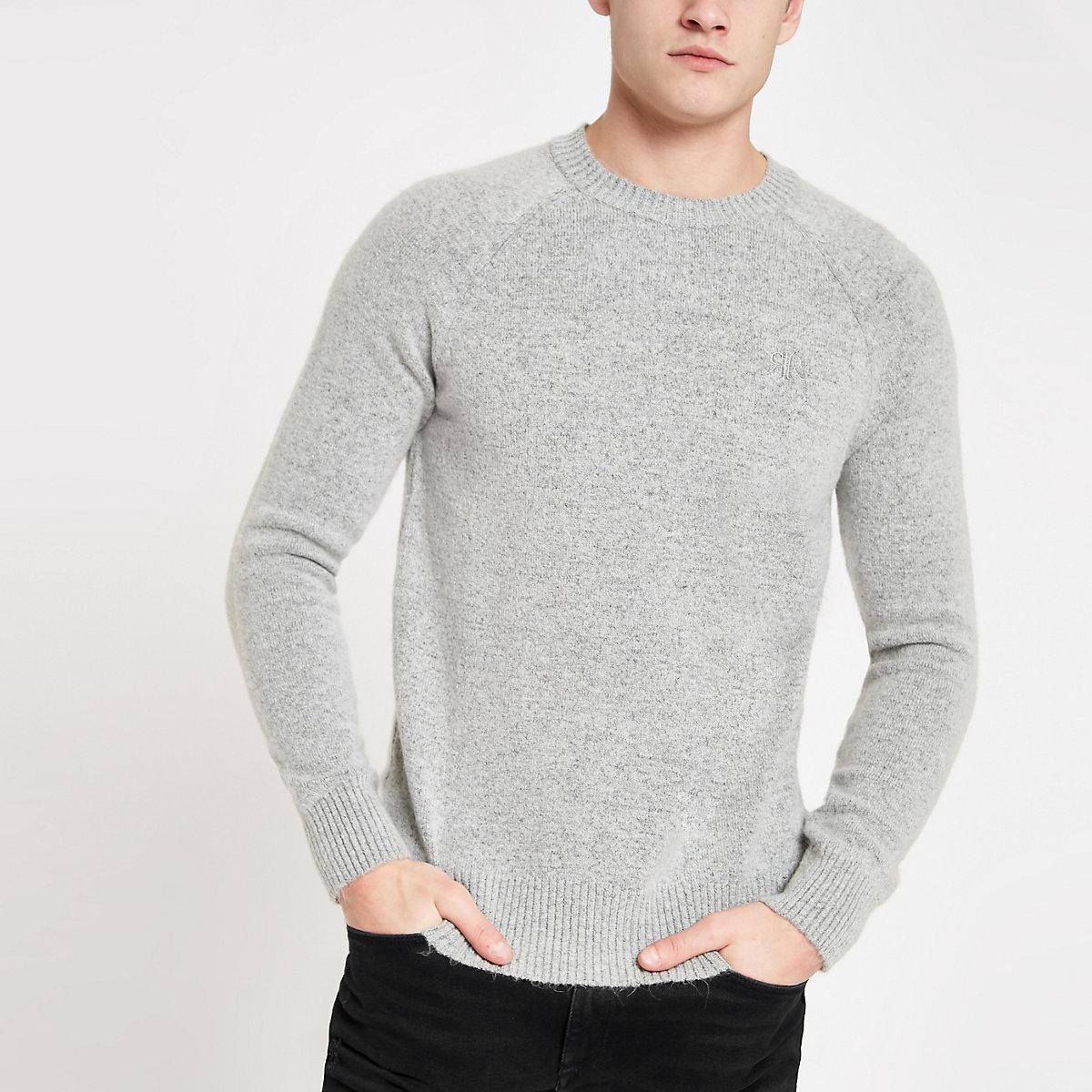 Grey knit slim fit sweater