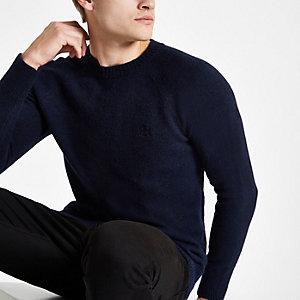 Marineblauwe gebreide slim-fit pullover