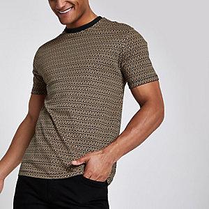 Bruin slim-fit T-shirt met RI-monogram