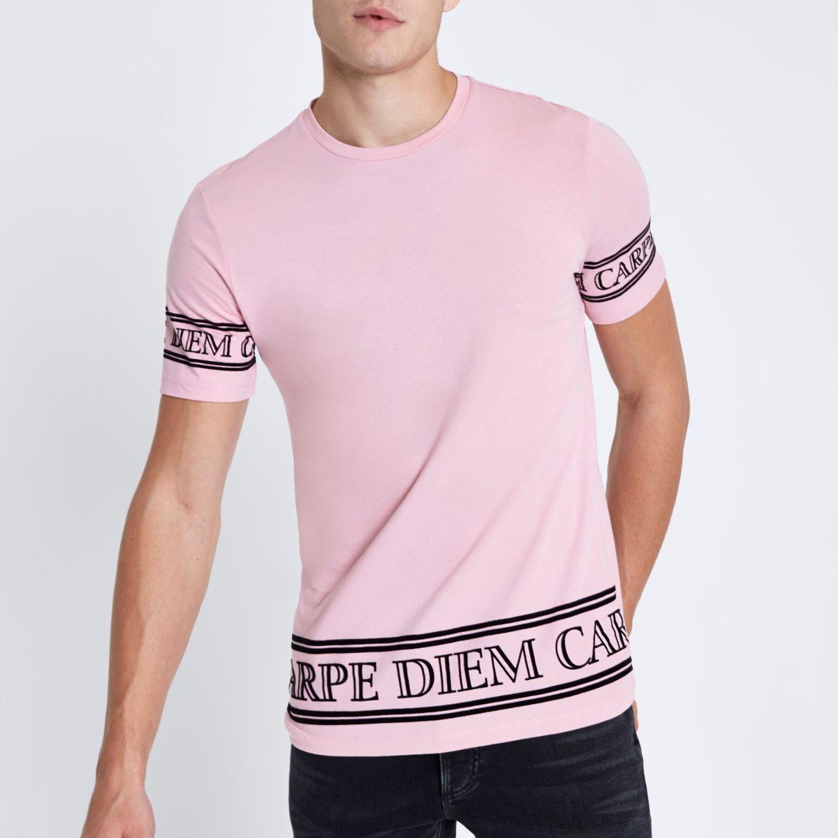 Pink 'carpe diem' sleeve slim fit T-shirt