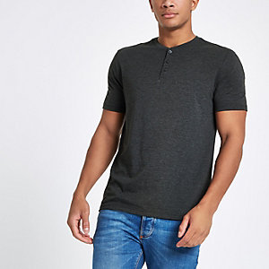 Graues Slim Fit T-Shirt mit Knöpfen