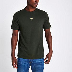 Kakigroen slim-fit T-shirt met geborduurde wesp